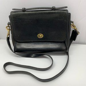 intage Coach Black Leather Crossbody Bag